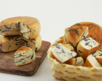 Dollhouse Cheese, Tiny Cheese, Mini Bleu Cheese, Miniature Food and Fake Food for Fairy Gardens, Dollhouses, Terrariums, and Jewelry Charms
