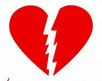 Line Art Love Heart : Broken heart art etsy