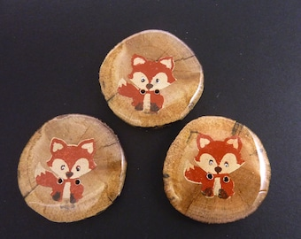 """3 Handmade Painted Fox Buttons.  Approximately 1 1/2"""" or 37 mm Round.  Made from real wooden branch."""