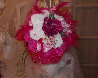 bouquet bridal fucshia pink artificial fuchsia and white