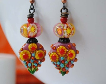 Floral Earrings, Colorful Earrings, Pink Yellow Earrings, Flower Earrings, Lampwork Glass Earrings, Glass Bead Earrings, Artisan Earrings
