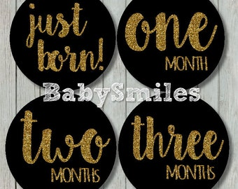 FREE GIFT Monthly Baby Stickers Baby Month Stickers Girl Month Stickers Monthly Bodysuit Sticker Monthly Milestone Stickers - Gold Glitter