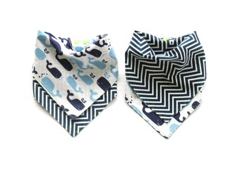 Boys Bandana  Bib  - Reverisble Whales  & Navy Chevron  - One Size Adjustable Baby Bib with Snaps - Reversible Drool Bib > 100% Cotton