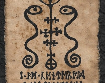Damballa linocut print