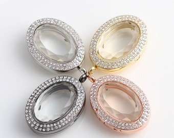 4Pieces/lot Locket - oval floating locket / memory locket / glass locket