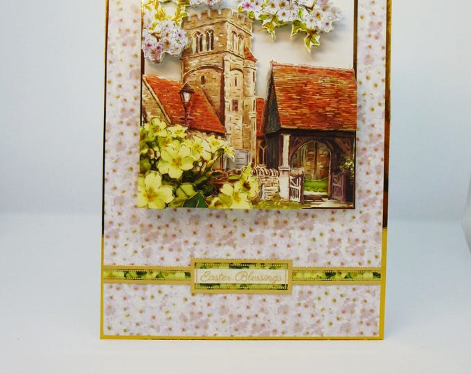 Easter Blessings, 3 D Decoupage Easter Card, Greeting Card, Primroses and Blossom, Church, Male or Female , Any Age