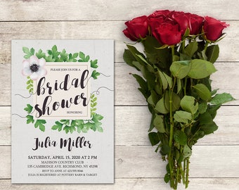 Bridal Shower Invitation, Green Bridal Shower, Garden Party, Garden Theme, Bridal Brunch, Engagement, We're Engaged, Printable No. 1232