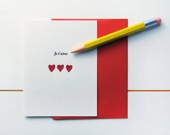 Je t'aime -  French Letterpress I Love You Card