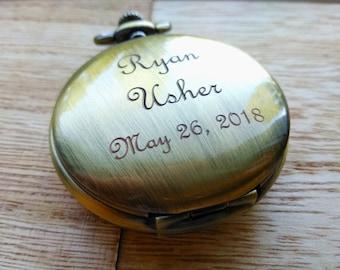 Bronze Personalized Watch Gift for Boyfriend Groomsmen Gift Steampunk Bronze Pocket Watch Mechanical Watch Engraved Watch Skeleton Watch