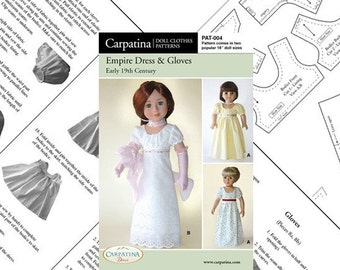 """Empire Dress and Gloves Pattern for 18"""" American Girl Dolls and for 18"""" Slim Carpatina dolls"""