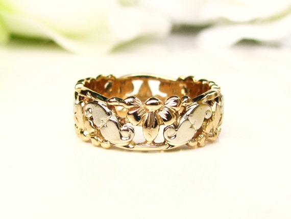 Vintage Heart Filigree Wide Wedding Band 14K Two Tone Gold