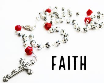 Rosary--Handmade--Red/Black & White--Prayer Beads--Catholic--Inspirational--One of a Kind--Hope--Pray--Contemporary--Faith--Gift for Her