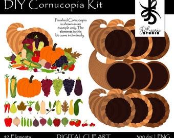 Digital Clipart-Thanksgiving Conucopia Kit-DIY Cornucopia-Cards-Invitations-Harvest-Horn of Plenty-Scrapbooking-Instant Download Clip Art