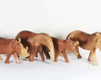 Vintage Wood African Animals - Wood Lion, Hippo, Elephant, and Warthog, Hand carved animals