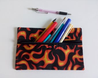 Flames front zip pencil case with black lining, pencil case, zipper pouch, back to school, pencil pouch, office supplies, bag, pouch