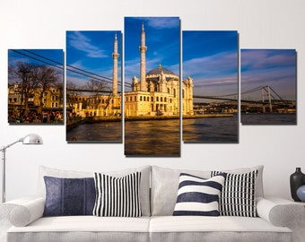 LARGE XL Ortakoy Mosque and Bosphorus Bridge Canvas Print Istanbul, Turkey Canvas Sunset Horizon Wall Art Print Home Decoration - Stretched