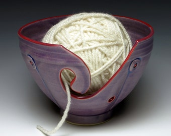Purple Button Ceramic Yarn Bowl, Ceramic Knitting Bowl