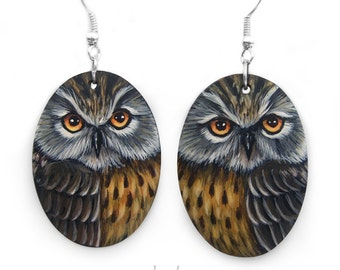 Pair of Long-Eared Owl Earrings | Hand Painted Jewels