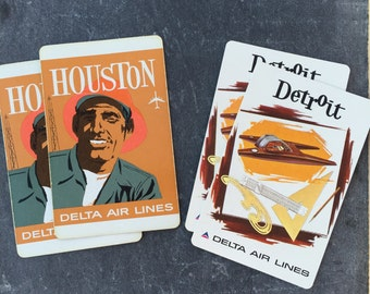 Vintage Delta Airlines Houston OR Detroit Playing Cards Set of 2 Cards