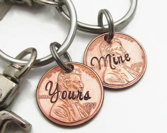 Personalized Couples KeyChain - Hand Stamped Penny - Penny Keychain - Personalized Keychain - Valentines gift - Yours and Mine