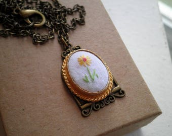 Embroidered Daisy Charm Necklace - Petite Floral Embroidery Necklace - Tiny Wildflower Fiber Jewelry - Little Yellow Flower Art Gift For Her