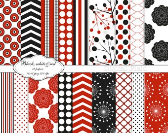Black, white&red digital scrapbooking paper pack - 18 printable jpeg papers, 12x12, 300 dpi - instant download