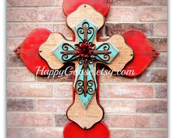 Wall CROSS - Wood Cross - X-Large - Antiqued Red & Turquoise with Religious wording print, iron cross, and red iron rose