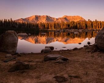 Moraine Lake Sierra Sunset Metal Print
