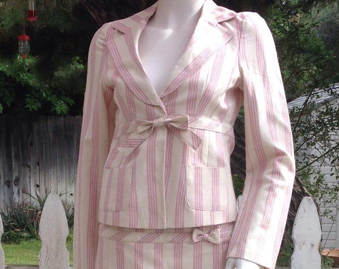 Vintage 90s Forever21 Pink White Striped Cotton Linen Preppy School Girl Junior Long Sleeve Jacket Micro Mini Skirt