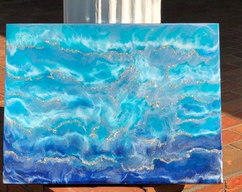 Ocean Silver sparkling waves resin mixed media painting