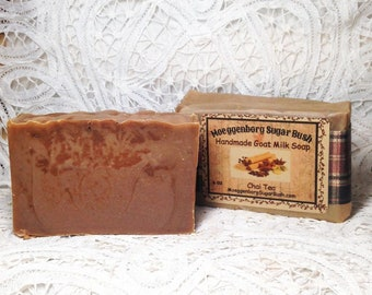 Goat Milk soap, Chai Tea, handmade soap, Moeggenborg Sugar Bush, teacher gift, mother's day gift, cold processed soap