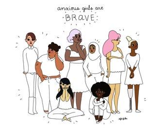 Ängstlich Mädchen sind mutige Druck - Hand illustriert