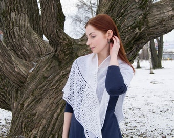 Hand knit wool shawl, lace knitted shawl, white triangular scarf, sping knitted wrap, wedding white shawl, bridal lace wrap, bridal shawl