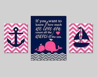 Whale Nursery Decor Nautical Nursery Decor Whale Nursery Art Baby Girl Whale Nursery Art Hot Pink Navy Nursery Art Whale  CHOOSE YOUR COLORS
