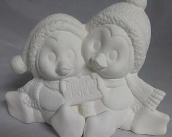 "Cuddle Penguins 7"" x 5"" Ceramic Bisque, Ready To Paint"