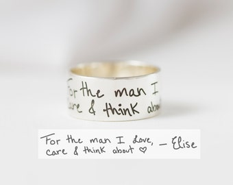 Handwriting Ring in Sterling Silver • Handwriting Band • Keepsake Gift • Wedding Band • Personalized Gift • Gift for Him • RM23