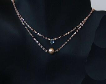 Healing Gem Layering Necklace Gold Freshwater Pearl  Gemstone