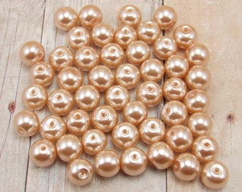 8mm Glass Pearls - Champagne - 50 pieces - Medium Beige - Flesh