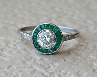 Art Deco Old European Diamond and Emerald Platinum Halo Vintage Target Engagement Ring