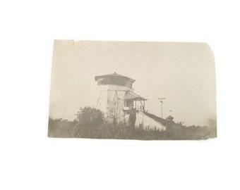 Old Velox Postcard  Block House Postcard Paper Ephemera Lighthouse Postcard Blockhouse Old Postcard Black and White Postcard Unused