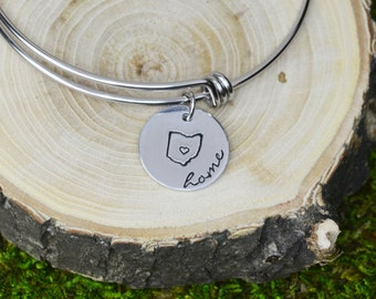 Ohio Charm Bracelet - Adjustable Bangle Bracelet with Hometown - Stacking Bangles