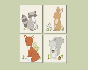 Woodland Nursery Art -- Woodland Animal Art -- Set of 4 Prints -- Woodland Nursery Decor -- Fox Bunny Raccoon Squirrel -- Kids Wall Art