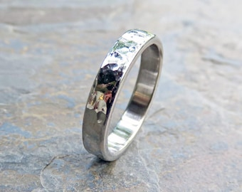 Hammered 14k White Gold Wedding Band, 4mm Flat Ring, Polished or Matte - Recycled, Hypoallergenic 14k Palladium White Gold or 950 Palladium