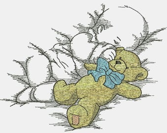 The boy is sleeping with a bear Machine Embroidery Design
