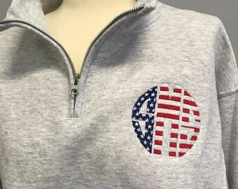 SALE! Flag Monogrammed Quarter Zip Pullover
