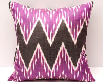 15x15 purple ikat pillow cover, purple, ikat pillow cover, zig zag, chevron, ikat, purple pillow, purple cushion, purple, coffee color