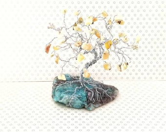 Sentimental Gifts, Opal Gem Tree, Wire Tree Sculpture, Gemstone Tree, Beaded Tree, Cute Desk Accessories, Friendship Gifts, Gifts for Mentor