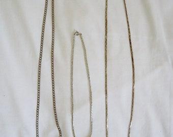 Three vintage silver tone chain necklaces