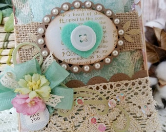 Shabby Chic Card, Handmade card, Teal Card, Vintage Card, Heart Card, Customize, Any occasion Card, Love you, Thank you, For You, Mom, card