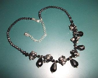 Vintage Signed Youlli Jet Black & Silver Faceted Crystal Dandle Drop Choker Necklace